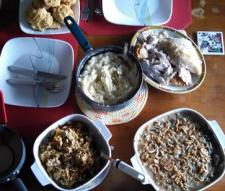 Part of our Thanksgiving feast. I didn't have room on the table for the fruit salad or three pies.